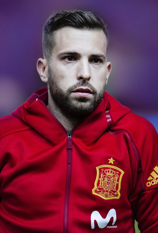 Jordi Alba looks on prior to the FIFA 2018 World Cup Qualifier between Spain and Israel at Estadio El Molinon on March 24, 2017 in Gijon.