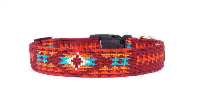 Southwestern Handmade Native American Indian Tribal Red Adjustable Dog Collar in Pet Supplies | eBay