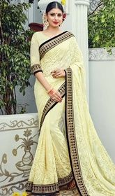 Designer Sari in Yellow Color Shaded Embroidered Georgette  #onlinedesignersarees #designersilkhalfsarees Be your distinctive vogue diva with this designer sari in yellow color shaded embroidered georgette. This attire is beautifully adorned with lace, resham and stones work. Upon request we can make round front/back neck and short 6 inches sleeves regular saree blouse also. USD $ 289 (Around £ 199 & Euro 220)