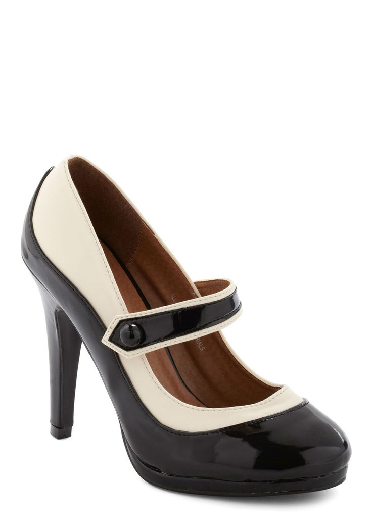 'S Marvelous Heel - Black, Tan / Cream, Formal, Prom, Wedding, Party, Work, Pinup, Vintage Inspired, 30s, 40s, 50s, 60s, Film Noir, Menswear Inspired, Cocktail, Holiday Party, Faux Leather, Mary Jane, High