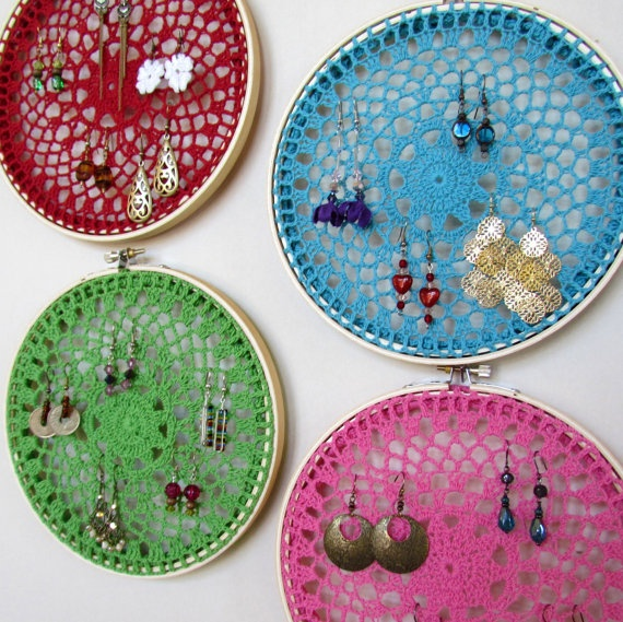 display and organize your earrings with embroidery hoop framed doilies! $20 each