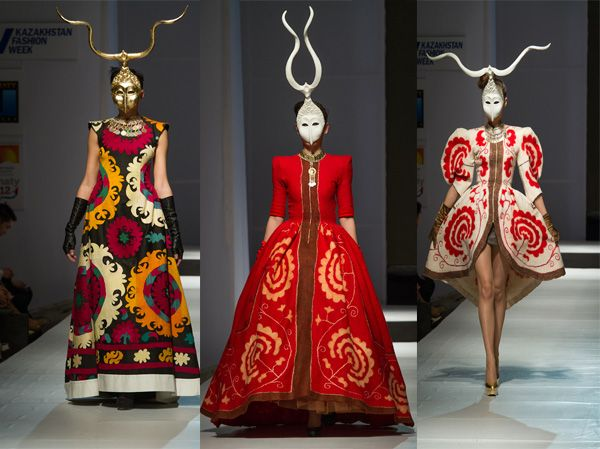 Fashion Designer from Kazakhstan - Aya Bapani. In left traditiona tajik embroidered textiles - suzani. Other textiles is embroidered wool fe...