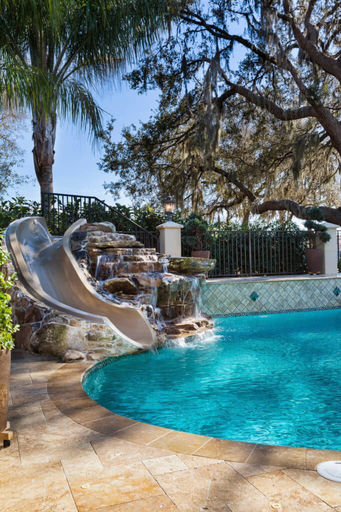 Best 25 pool slides ideas only on pinterest swimming for Built in pools