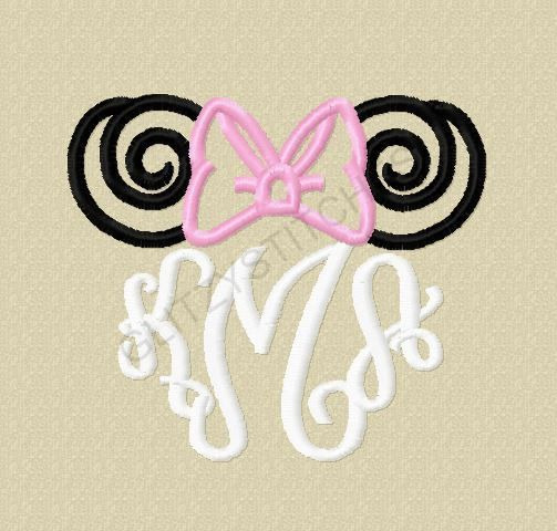 NEW Design - Miss Mouse Monogram Swirly Ears with Bow Satin Stitch Outline Embroidery Design  3, 4, 5, 6 inch Embroidery - NO Applique on Etsy, $3.75