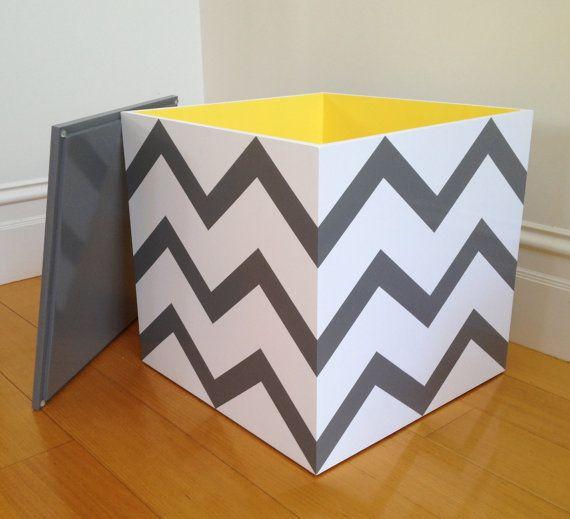 Toy Cube  Grey Chevron Toy Box Toy Bin Toy by littlebigdesignsshop