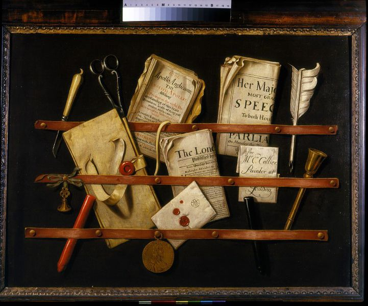 Three horizontal straps, pinned one above the other on a wall, hold folded documents, an almanac, a newspaper, writing implements, and other material