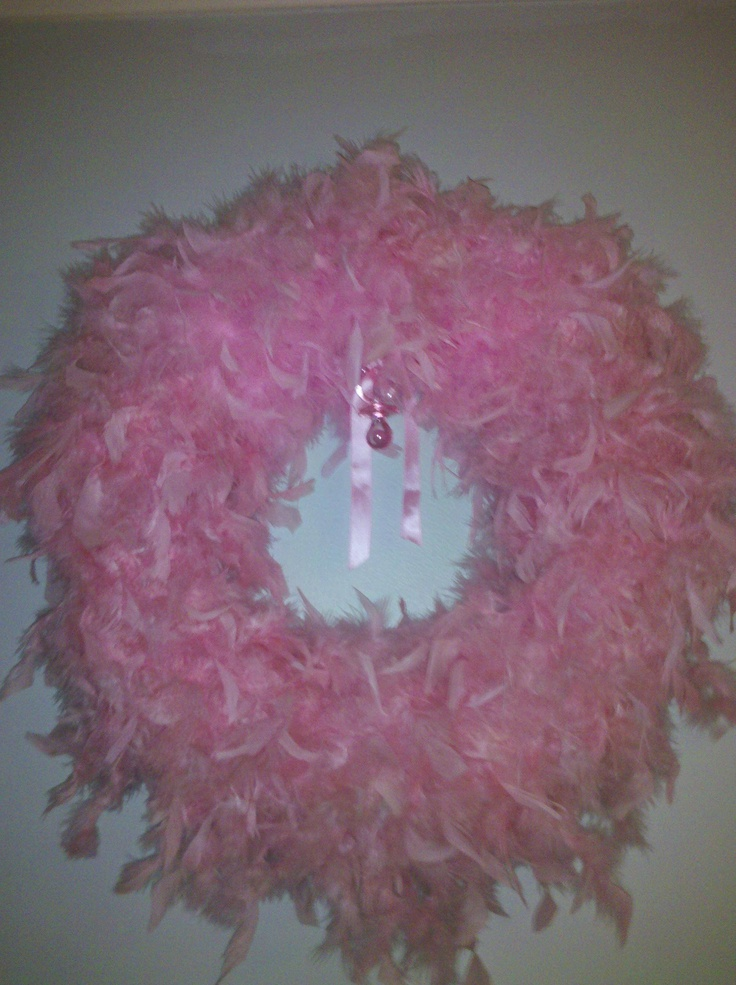 Feather boa baby wreath