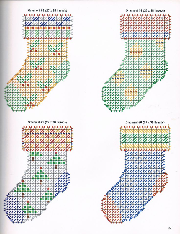 ORNAMENTAL STOCKINGS by KOOLER DESIGN STUDIO, INC. 4/4 - FROM MAKE IT MERRY IN PLASTIC CANVAS BOOK 5