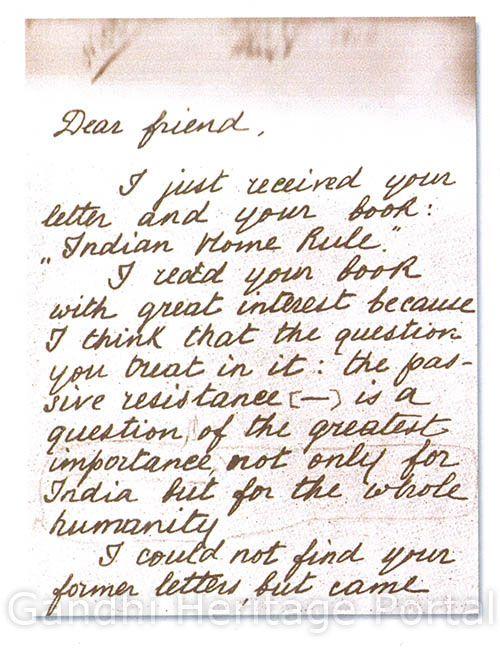 Leo Tolstoy's response to Mahatma Gandhi's letter 1910.