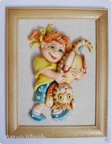 Картина панно рисунок Лепка Роспись Девочки из теста  Акварель Гуашь Тесто соленое фото 3