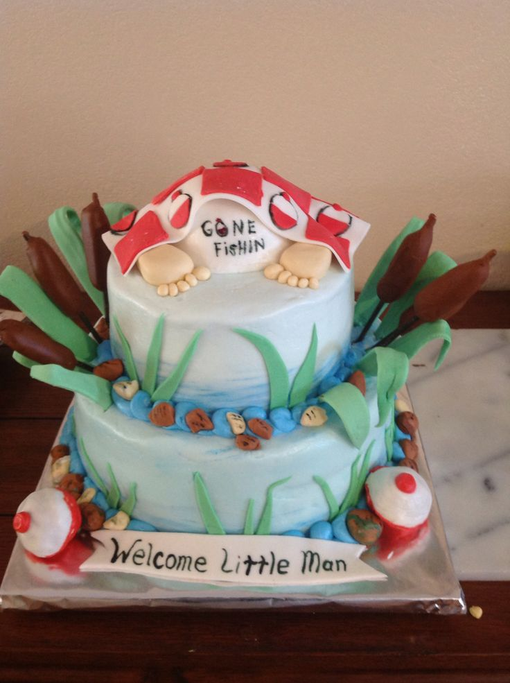 Gone fishing with baby butt baby shower cake cakes i for Fishing themed baby shower