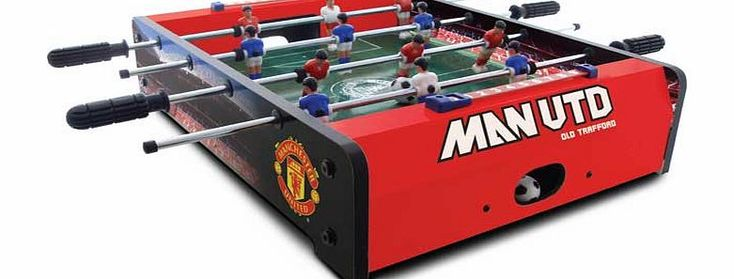 Manchester United FC Manchester United 20 Inch Football Table Play the Manchester United way anywhere. just clear a space and away you go with this 20 inch table top football game. Play with two teams of 6 in a 3 x 3 arrangement on the grass-effect printed pitch http://www.comparestoreprices.co.uk/football-tables/manchester-united-fc-manchester-united-20-inch-football-table.asp