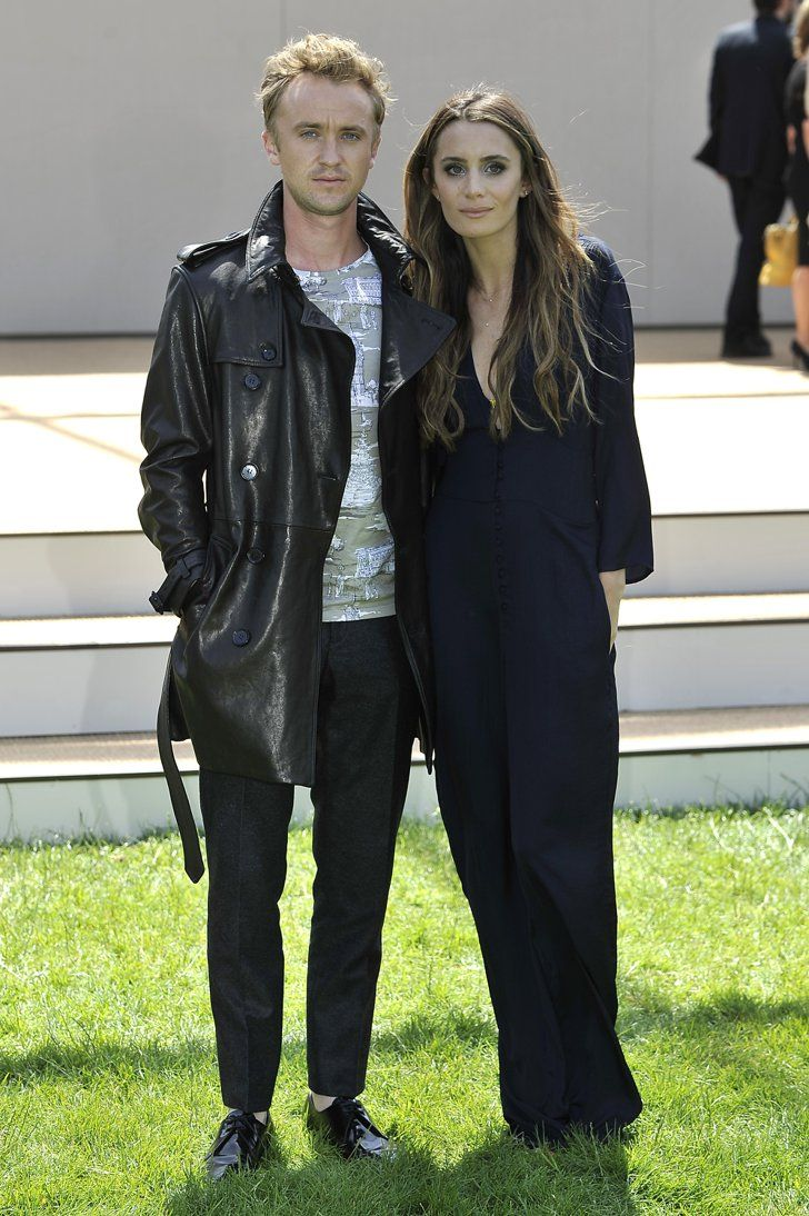 Pin for Later: Ladies Lead the Way Front Row at the London Menswear Shows Tom Felton and Jade Olivia The Harry Potter couple scrubbed up well for the Burberry show.