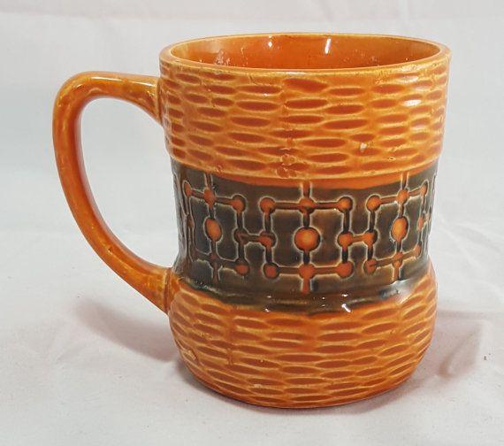 Vintage Mid Century Modern Coffee Mug Ceramic Basket