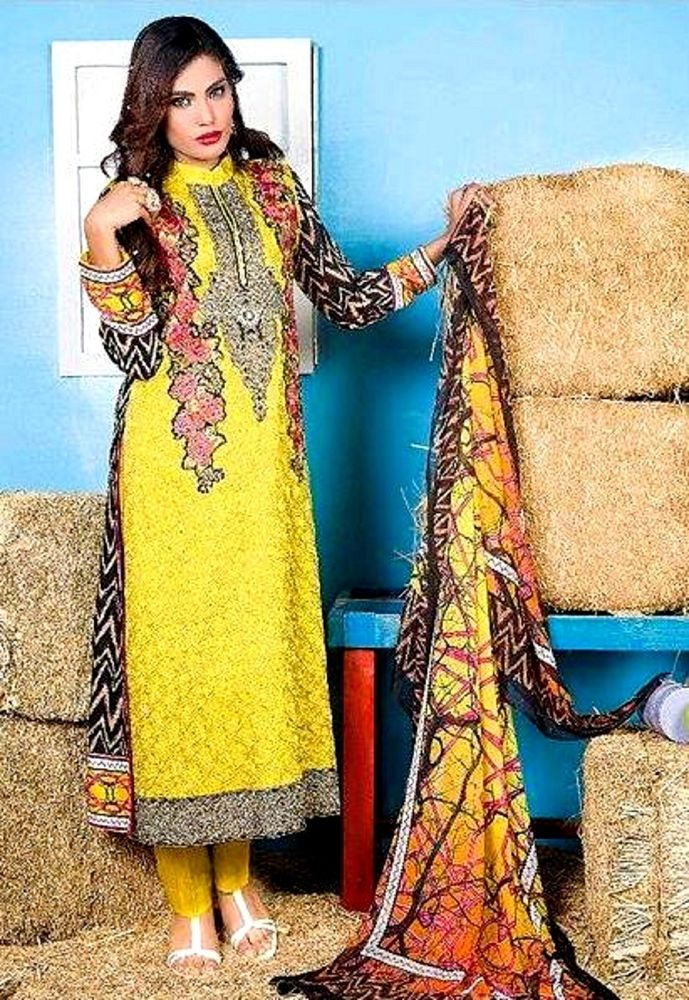 Pakistani Indian Salwar Kameez Embroidered 3 Pcs Stitched Kurta Cigarette Pants #FloridViscoseDesignerCollection2016 #KurtaKameezCigarettePantsDupatta