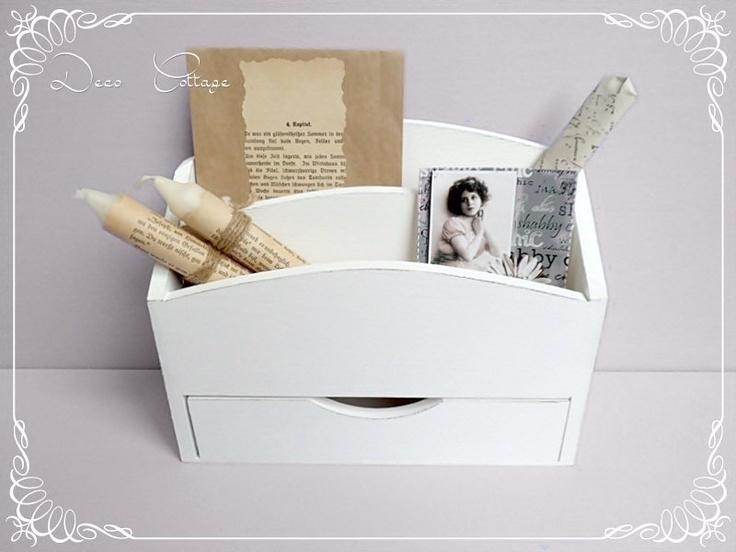 Schickes Utensilo Für Den Schreibtisch. Mit Schublade Und 2 Fächern. Weiß  Gestrichen Und Shabby