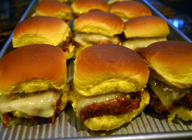 Barbecue Chicken Sliders - so easy! Perfect for Super Bowl.