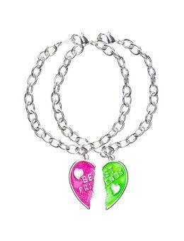 Justice Friendship Necklaces Ping At Best Friends Neon Heart Bracelets Wear One Pinterest Friend