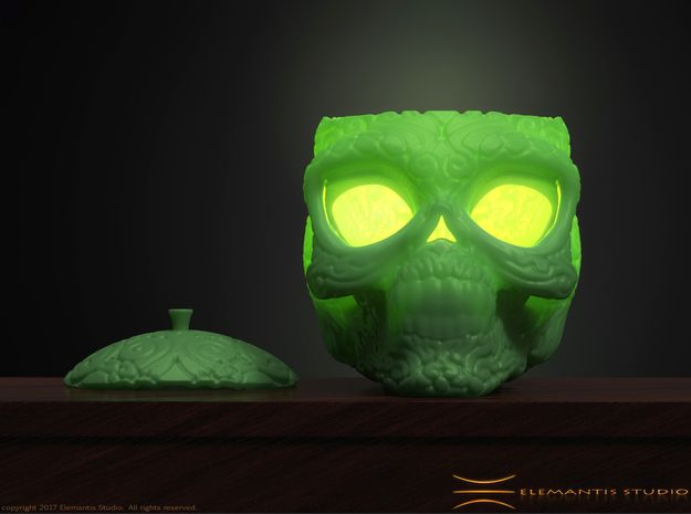 Day of the Dead/ Halloween Glow Skull Lantern 8cm in Green Strong & Flexible Polished