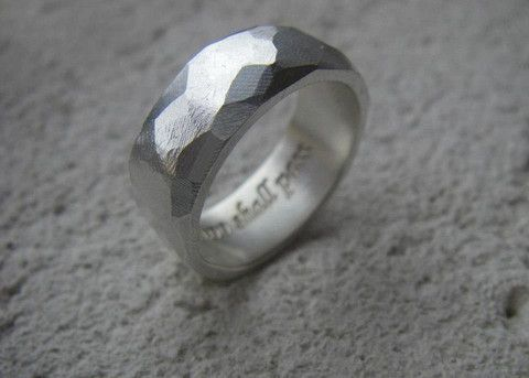 "For the one on your list who wears his philisophy... Rough hewn men's ring in sterling silver with engraving-""This too shall pass"" by #SlashpileDesigns #giftguide (for other engravings just ask!)"
