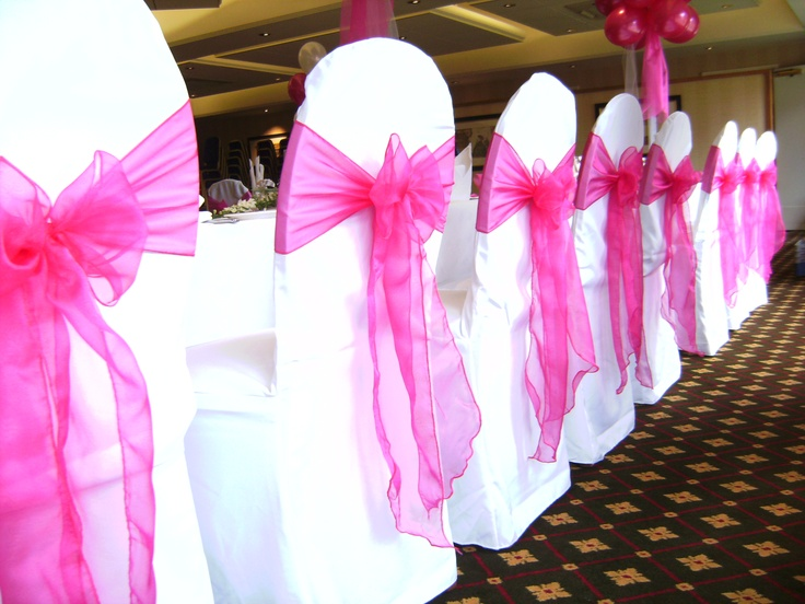 Fuschia Pink Organza Bows on White Chair Covers