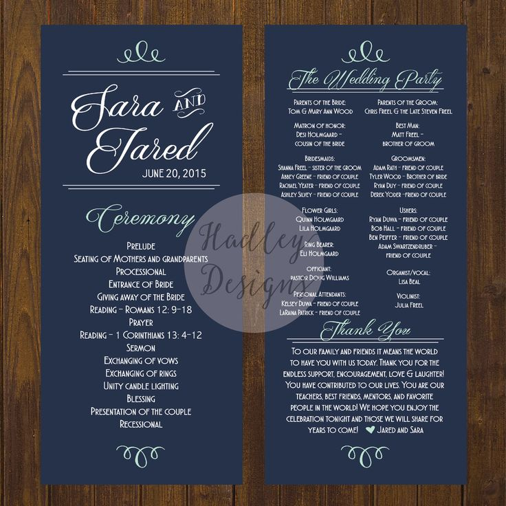 Wedding Program Inclusions  Sample Ideas