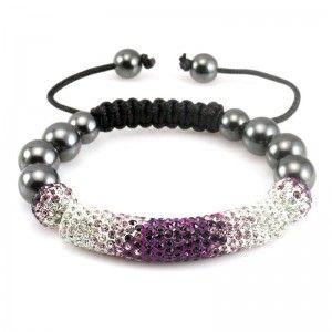 Purple and White Crystal & Hematite Beads Shamballa Tube Bracelet
