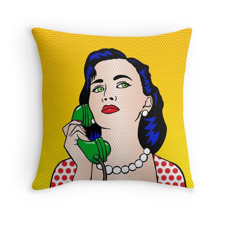 Throw Pillow - The Phone Call #popart #homedecor #redbubble
