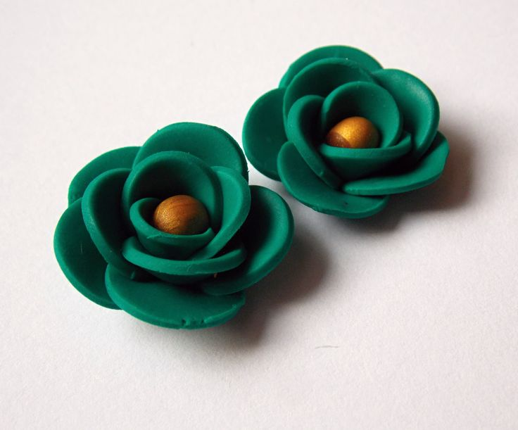 smaragd, fimo, earrings
