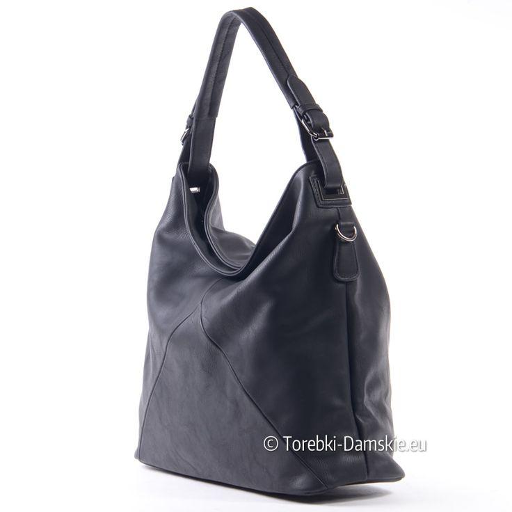 Czarna torba damska - model na ramię A4, dodatkowy długi pasek dopinany w komplecie. Kliknij http://torebki-damskie.eu/worki/1591-torba-na-ramie-czarna-a4-worek.html