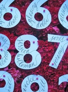 Guests' names are actually written on cut-out numbers for a unique twist....get letters for the guests last initial, paint, put their name on it, along with their table number...a wedding gift that they may actually display in their house.