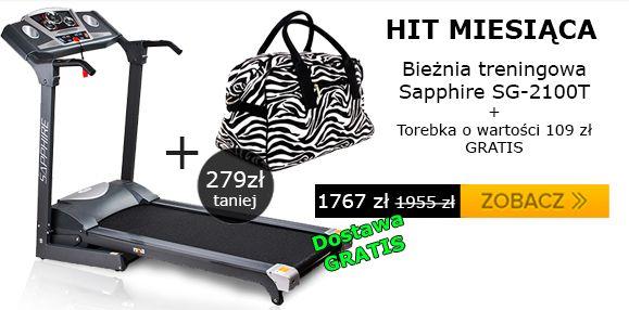 Takiego połączenia jeszcze nie było :) Bieżnia w najniższej cenie na rynku, darmowa dostawa i torebka damska o wartości 109 zł GRATIS. Zapraszamy do oglądania i zakupów!  http://www.abcfitness.pl/bieznie/bieznia-treningowa-sg2100t-sapphire/
