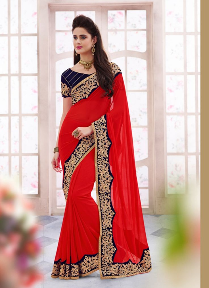 Red Wholesale Party Wear Saree Supplier From India