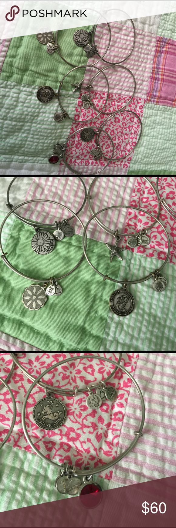 6 Alex Ani Bracelets sold together Daughter, flower, St Christopher and Star fish, Capricorn and a Red Stone there are 6 total need a cleaning Alex & Ani Jewelry Bracelets