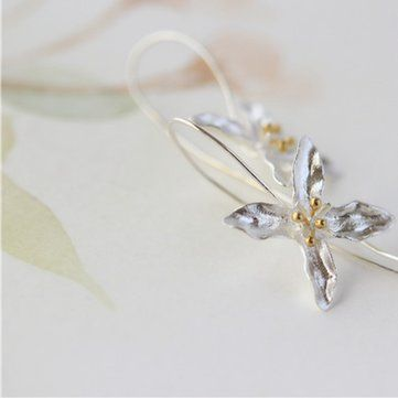 925 Silver Earrings Tassel Flowers Elegant Earrings at Banggood