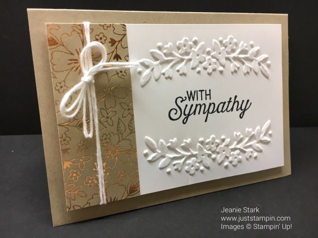 Stampin' Up! Sympathy note card using Affectionately Yours DSP, and Floral Affection Emobssing Folder.
