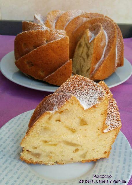 Cocinax2. Las recetas de Laurita.: Bizcocho de pera, canela y vainilla (bundt cake)