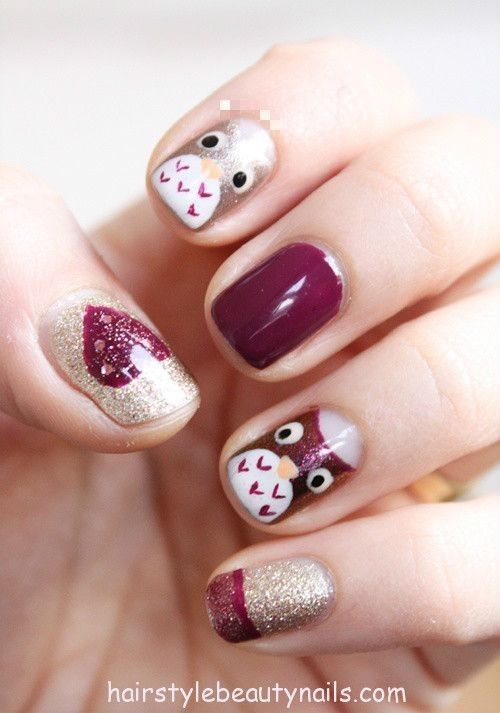 owl nails design art picture image photo beauty (15) http://www.hairstylebeautynails.com/nails-designs/glitter-nails-owl-design-2/