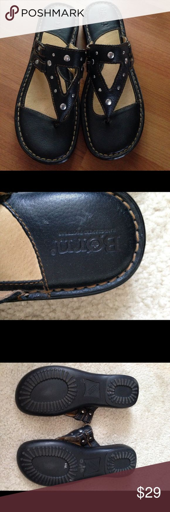 Born black leather flat thong sandals, 6m Born black leather thong flat sandals, 6m. Great shape, no box Born Shoes Flats & Loafers