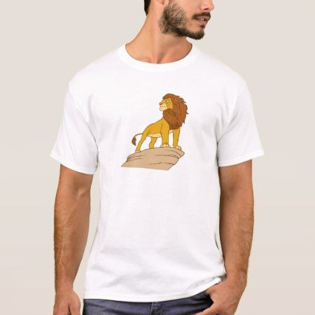 Lion King adult Simba standing proud on rock cliff T-Shirt - tap, personalize, buy right now!