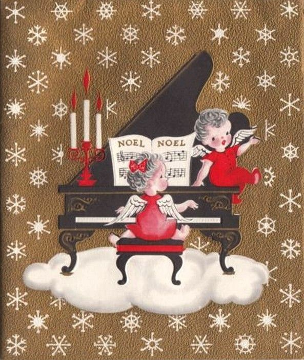 Old Christmas Post Cards —  Angel Singing and Playing Piano  (593x700):