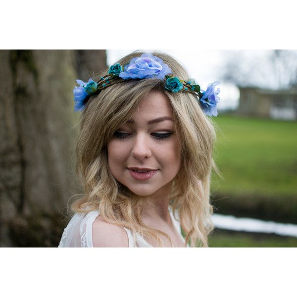 Cornflower Blue Rose Flower Hair Crown Headband Vintage Floral... ($17) ❤ liked on Polyvore featuring accessories, hair accessories, grey, headbands & turbans, rose flower crowns, crown headband, headband hair accessories, floral crowns and flower wreath headband