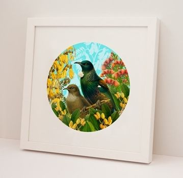 Visit Texan Art Schools in Garden Lane and choose from a selection of prints by New Zealand Artists for a special gift for Mum - this Botanical Tui framed art print is $113.00