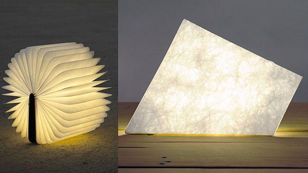 Zleva: lampa Lumio navržená Maxem Gunawanem inspirovaná knihou a stolní lampa Tap od Filipa Havránka a Kristiny Lugonjy připomínající list papíru.