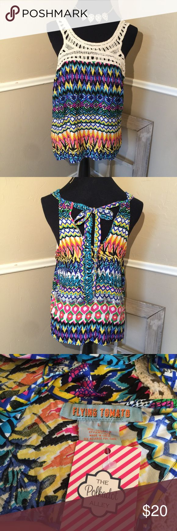 NWT Crochet adjustable Tie back Boho Funky Chevron New with tags. Adjustable- Ties in back for loose top or tight. Yellow, Blue, Green, White & black colors Flying Tomato Tops Tank Tops