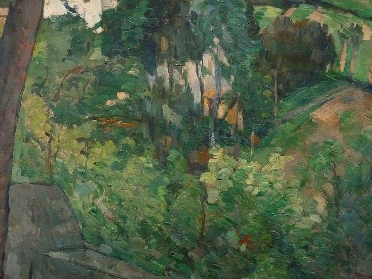 CEZANNE,1875-76 - Paysage au Toit Rouge (Orangerie) - Detail -zb - CEZANNE à Victor Chocquet (jardinier) : « […] je ne pourrai souhaiter pour vous que la réussite de vos plantations et un beau développement de végétation : le vert étant une couleur des plus gaies et qui fait le plus de bien aux yeux. » (Gardanne, 11 mai 1886)