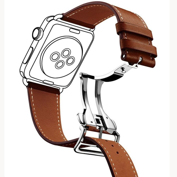 CNBEYOUNG Premium Genuine Leather Replacement Watchband with Exquisite Deployment Buckle for Apple Watch Series 2 Series 1 Apple Watch Sport Apple Watch Edition and All Other Version(38mm-Brown)