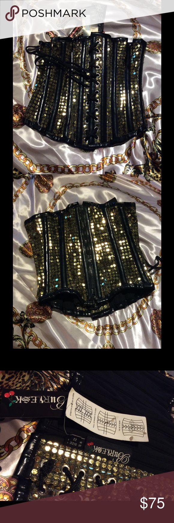 New Gold corset burlesque lace up and zip down Gogo, dance, festival, club, costume, sequance burlesk Other