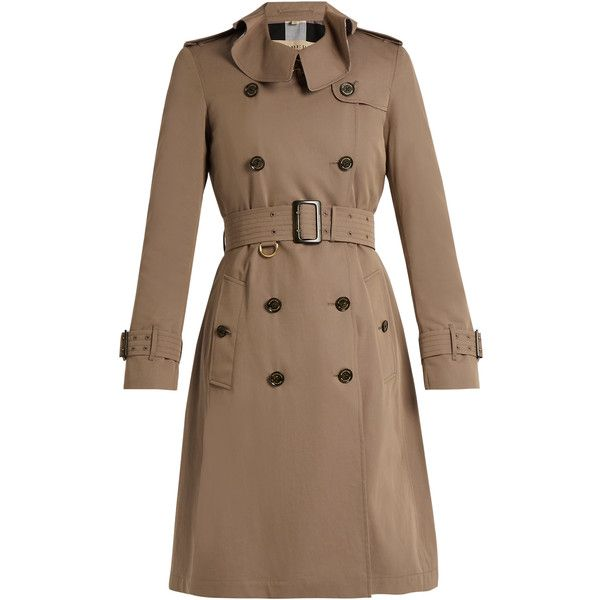 Burberry Townley ruffled-collar cotton trench coat (15.475 ARS) ❤ liked on Polyvore featuring outerwear, coats, beige, brown trench coat, waist belts, burberry, ruffle collar coat and brown coat
