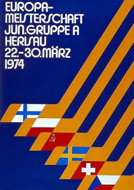 European Junior Ice Hockey Championship poster (1974) from Swiss Graphic Design by Alki1, via Flickr